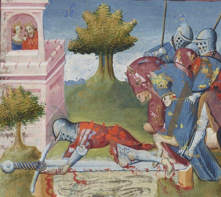 Lancelot-Graal. 3° « L'Ystoire Lancelot du Lac », la Quête du Saint Graal, la Mort d'Arthus de « GAUTIER MOAB ». Auteur : Maître des cleres femmes (13..-14..). Enlumineur Date d'édition : 1301-1400 Type : manuscrit Langue : Français Droits : domaine public Identifiant : ark:/12148/btv1b84920784