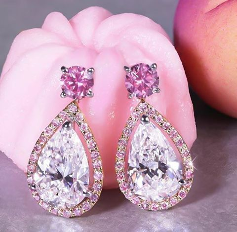 #vivid #pink #pembe #earrings #kupe #pirlanta