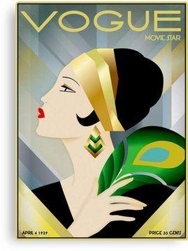 VOGUE : Vintage 1929 Magazine Flapper Advertising Print | Canvas Print