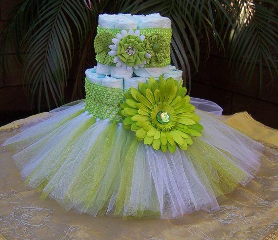BABY SHOWER~Tutu Diaper Cake Green: It's A Girl, Baby Shower Decoration, Diaper Cake Set, Baby Shower Centerpieces, Unique Baby Shower Centerpieces on Etsy