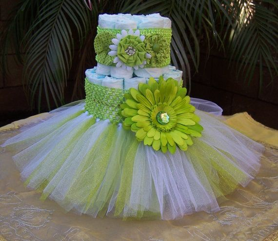KIT -Tutu Diaper Cake Green: It's A Girl, Baby Shower Decoration, Diaper Cake Set, Baby Shower Centerpieces, Unique Baby Shower Centerpieces