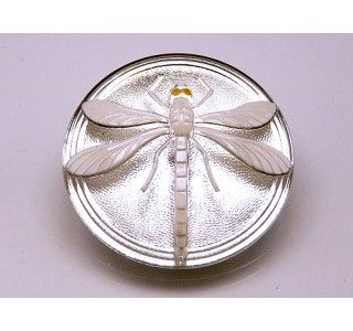 Cabochon Crystal with White Dragonfly