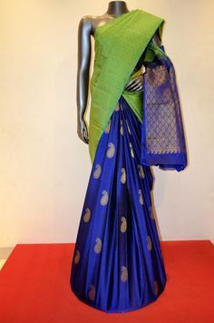 Green and Blue Patli Kanjeevaram Silk Saree Product Code: AC200594 Online Shopping: http://www.janardhanasilk.com/index.php?route=product/product&search=AC200594&description=true&product_id=4607