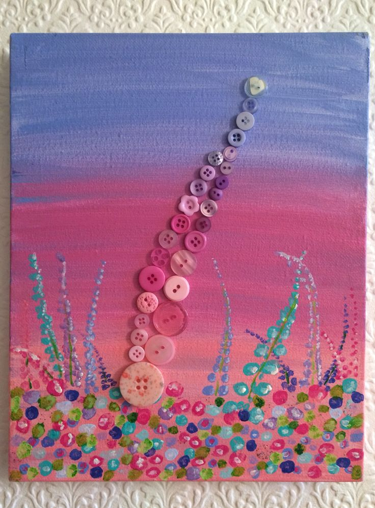 This Lupine painting was created using Acrylic paints and then decorated using different shades of pink, purple, light blue & white buttons.  This was made by Art with Flowers £10+p&p