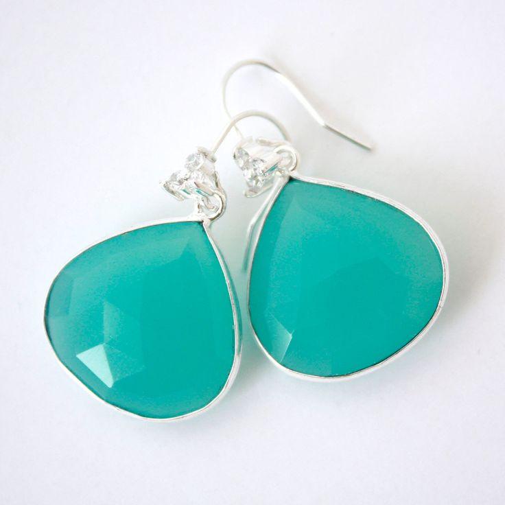 Stella Aqua Earrings. Aqua chalcedony bezel set faceted semi precious stones on a sterling silver dangle ear hook with diamontes. by SilverandLaurel on Etsy