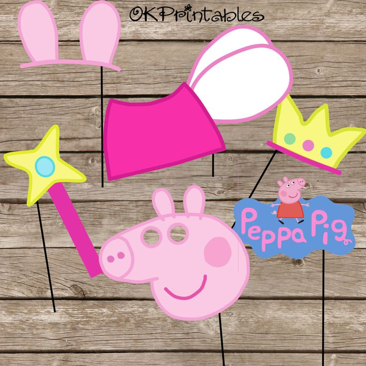 Peppa Pig Party Photo Booth Props / Peppa pig party / Peppa Pig Fairy Princess Party Photo Props / digital file / Instant download by OKprintables on Etsy