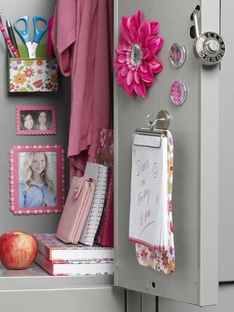 is your locker style practical but cute? Check out the magnetized photo frame, organizer and mini-clipboard.