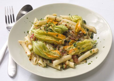 Pasta with Zucchini, Zucchini Blossoms, and Caramelized Onion Recipe: Bon Appétit