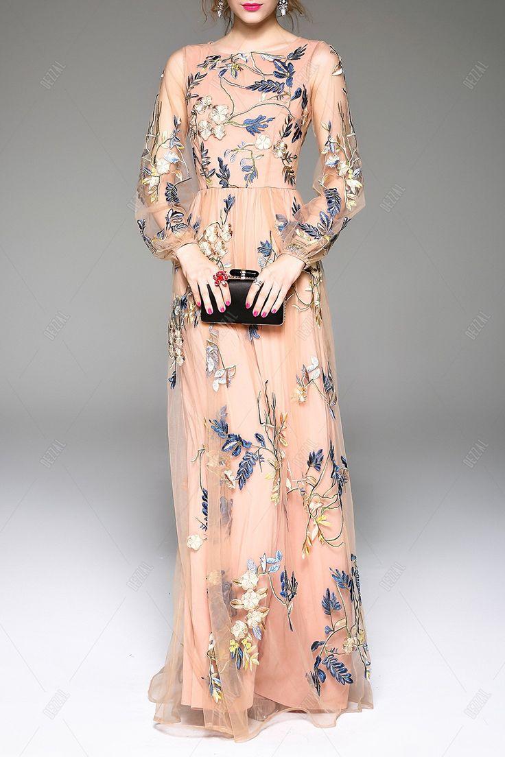 Embroidered Gauze Spliced Prom Dress