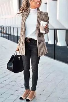 Dilute the use of BLACK with white and tweed…a turtleneck here is so edgy!!!