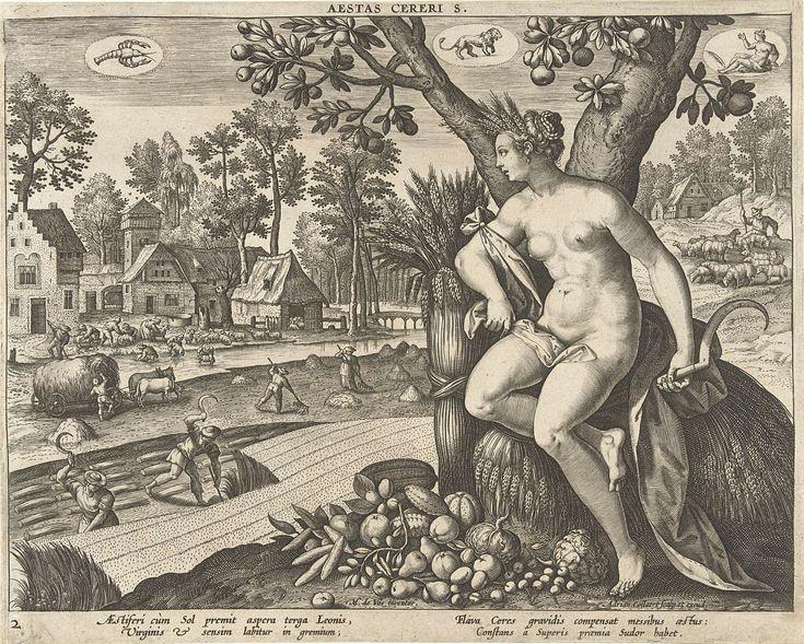 Adriaen Collaert | Zomer, Adriaen Collaert, 1570 - 1618 | Op de voorgrond Ceres met een sikkel in haar handen. Voor haar op de grond groenten en fruit. Naast haar korenarens. Op de achtergrond zomertaferelen: hooiende en oogstende boeren. Schapen die worden gewassen en geschoren en een herder met zijn schapen. Boven in de lucht de drie astrologische tekens van de zomer: Kreeft, Leeuw en Maagd. De prent heeft een Latijns onderschrift en is deel van een vierdelige serie over de vier seizoenen.