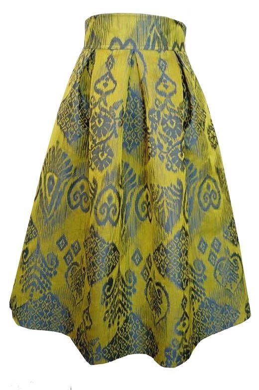 Taffeta Skirt Jacquard Skirt Yellow skirt Retro Skirt