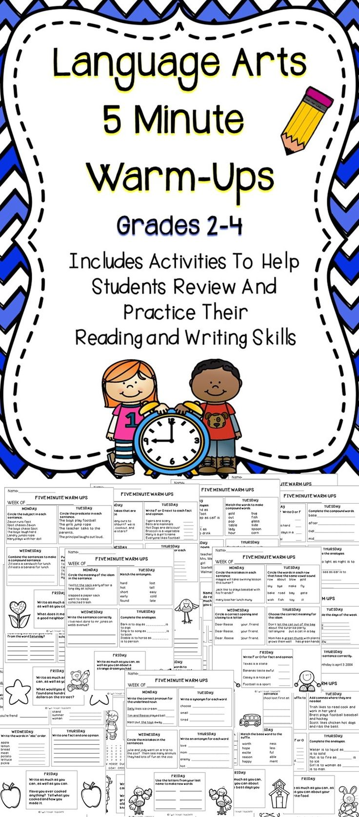 Five Minute Warm-Up For Language Arts - This is a great bundle of language arts warm-ups to hep students review their ELA skills throughout the year.  #education