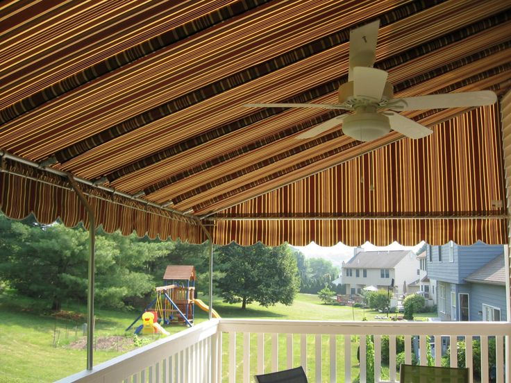 Stationary Canopy | Kreideru0027s Canvas Service Inc. Stationary deck canopy with a white ceiling & 8 best Ceiling fans in stationary canopies images on Pinterest ...