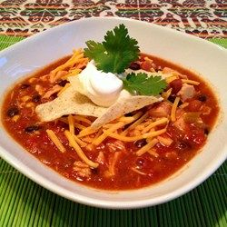 Slow Cooker Chili Suppe mit Huhn