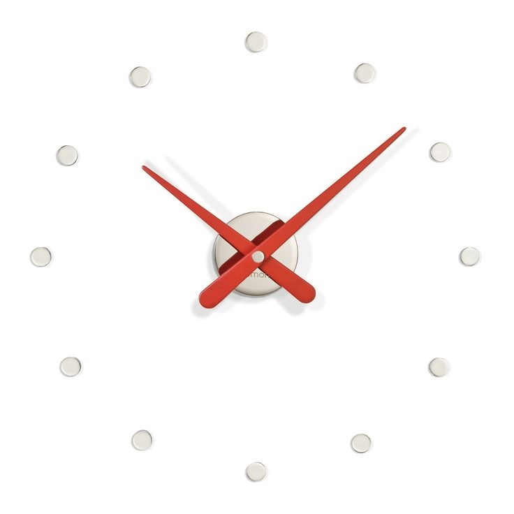 Exquisite modern high-end luxurious red analog wall mounted clock with circular hour markers finished made of walnut and steel.