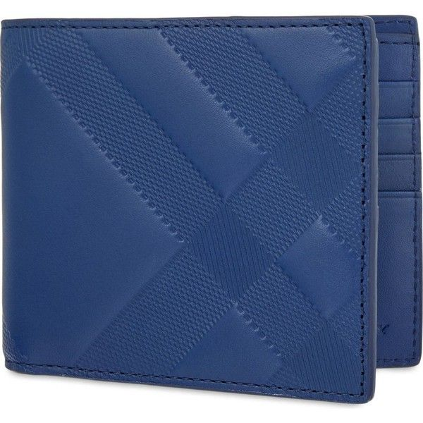 Burberry Embossed leather wallet ($210) ❤ liked on Polyvore featuring men's fashion, men's bags, men's wallets, lapis blue, mens leather wallets, mens leather bifold wallet, mens tri fold wallet, burberry mens wallet and tri fold mens leather wallet