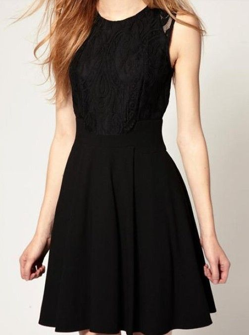 Black Sleeveless Lace Bandeau Ruffles Dress - Sheinside.com