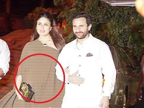 HIGHLY PREGNANT Kareena Kapoor with Saif Ali Khan at Reema Jain's birthday party.