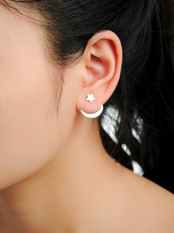 925 Sterling Silver Moon Crescent Front to Back Ear Jacket Earrings