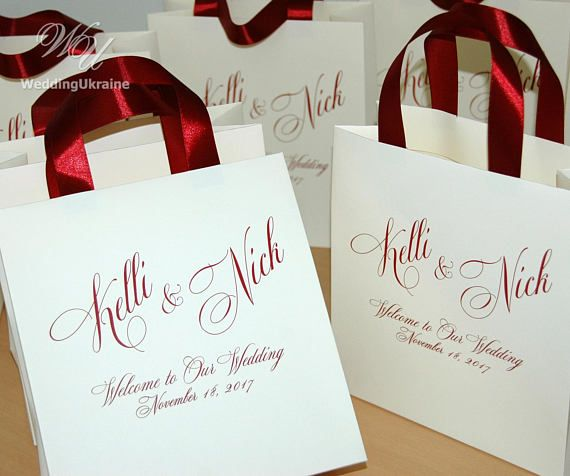 35 Wedding Welcome Bags With Satin Ribbon Handles Your Names