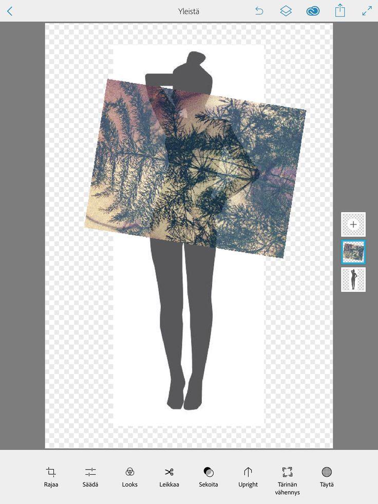 1.  Lisää ensin vartalokuva Lisää seuraavalle tasolle kuosi, jota haluat kokeilla vaatteena. Asettele tasot ja niissä olevat kuvat halutulla tavalla.  Tason saat valittua koskettamalla tasoa. Voit suurentaa, pienentää, kääntää tai muuten liikutella tasoilla olevia kuvia.