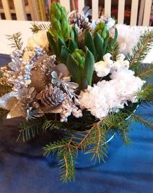 Flower arrangement with hyacinths and fake cloves