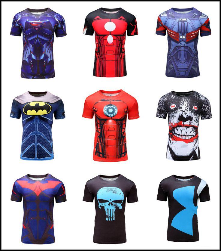Mens T-shirt Compression Top Superhero Avengers Costume Marvel Muscle Spiderman #GYMGALA #BasicTee