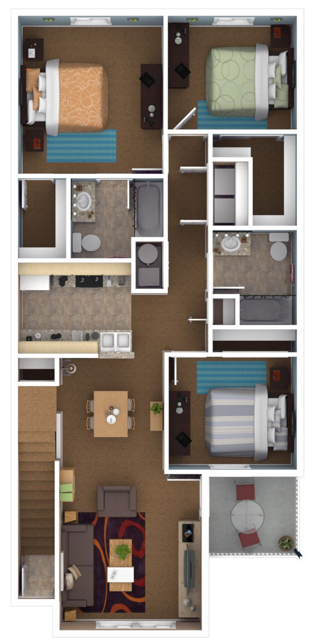 3 bedroom apartment floor plans. 3 bedroom  2 bath 1194 sq ft Canterbury Apartments 60 best A D Floorplans images on Pinterest Model Art and