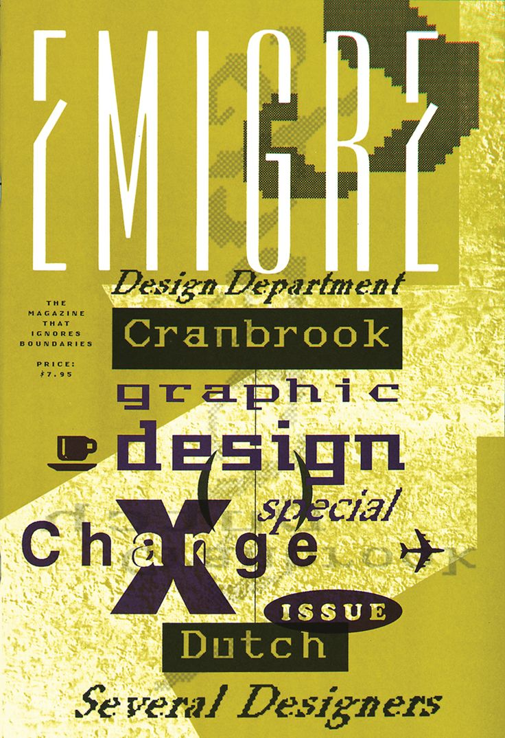 Emigre 10, 1988. Image credit: Graduate students at Cranbrook Academy of Art. This student-designed issue of Emigre explores an exchange program between Cranbrook students and Dutch graphic design students. Under the leadership of Katherine McCoy, Cranbrook was at the time a hotbed of postmodern thinking.