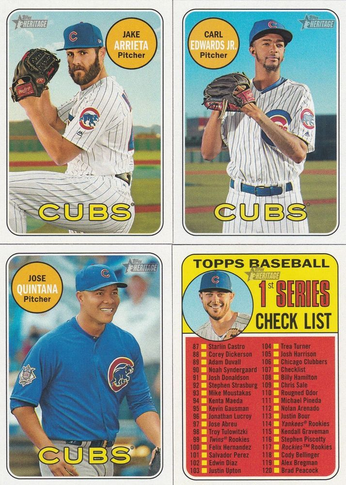 2018 Topps Heritage Baseball Chicago Cubs 4 Sports Baseball
