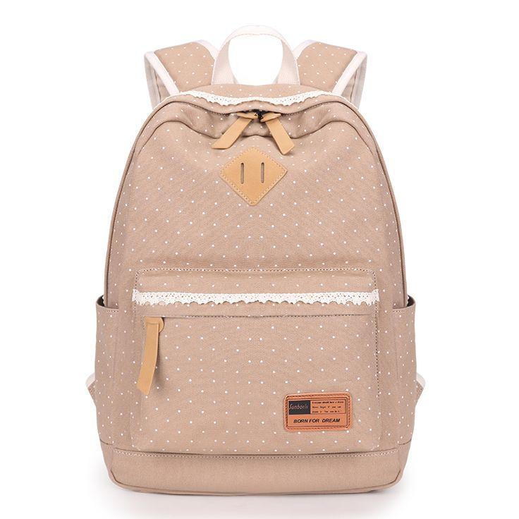 2016 new khaki cloth bag light blue dots ladies backpack mochila women canvas backpack laptop bag  white lace bags for girls
