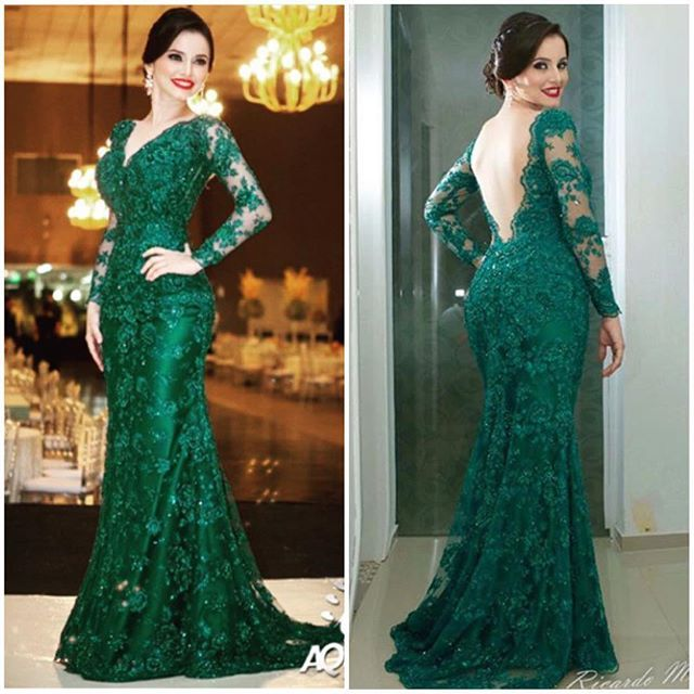Green/Navy Blue Mermaid Dress 2017 Double V Mother of the Bride Dress Long Sleeves Noble Lace Mother Bride Dresses 6171600
