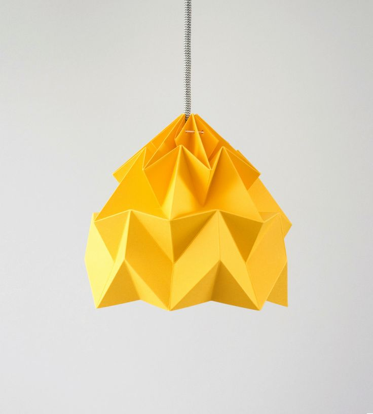 Moth origami lampshade gold yellow by Studio Sowpuppe