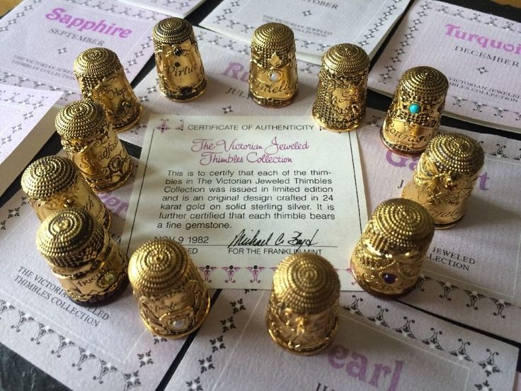 Victorian Jewelled Thimbles Collection 24k Gold On Sterling Silver Thimbles Gems | eBay