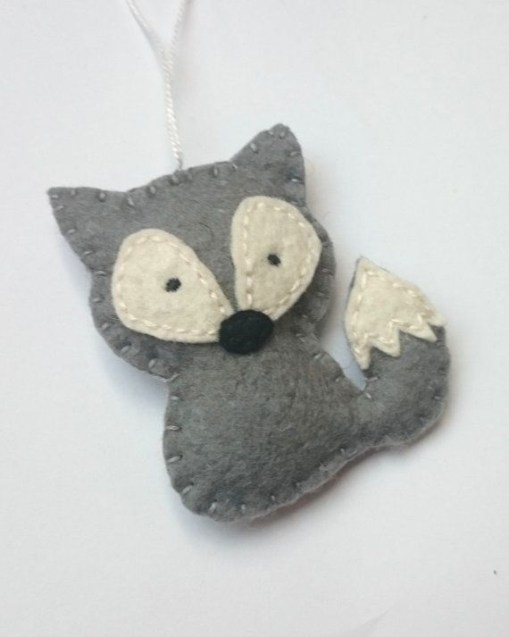 Wildlife ornaments Felt wolf as party favor home by grabacoffee