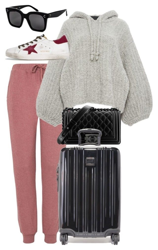 """""""Untitled #4404"""" by lily-tubman ❤ liked on Polyvore featuring Topshop, Tabula Rasa, Chanel, Tumi, Golden Goose and CÉLINE"""