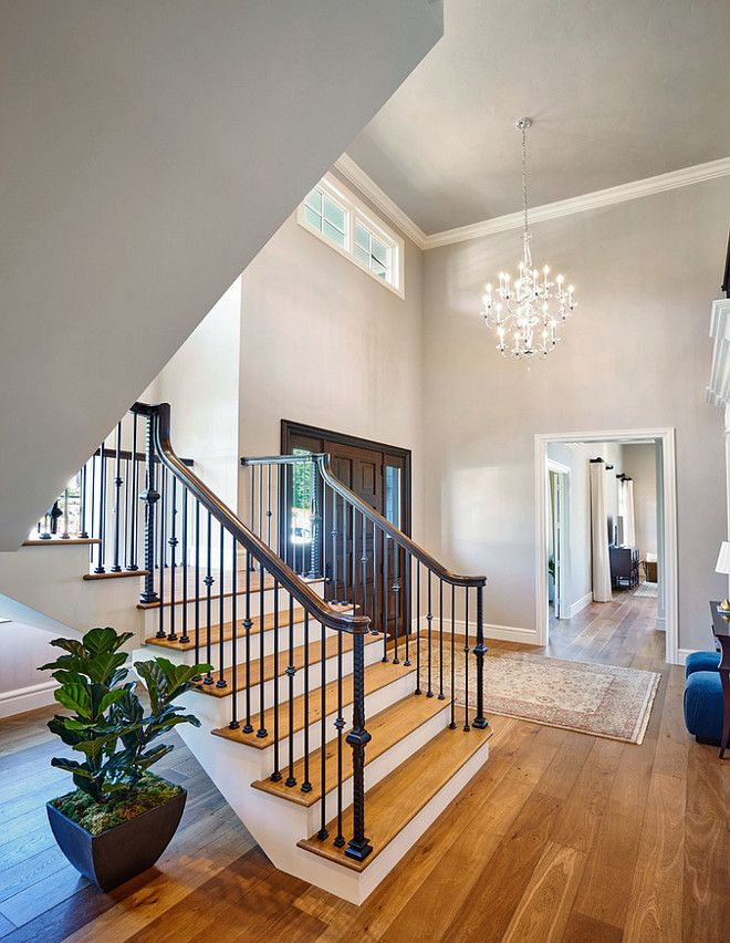 Wall & ceiling color are the same.  Benjamin Moore London Fog.  See how light affects the color.