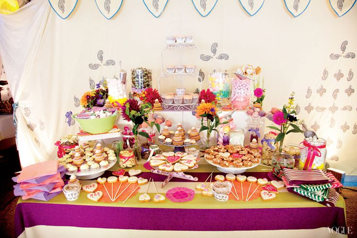 A dessert table that mimicked a retro candy shop.