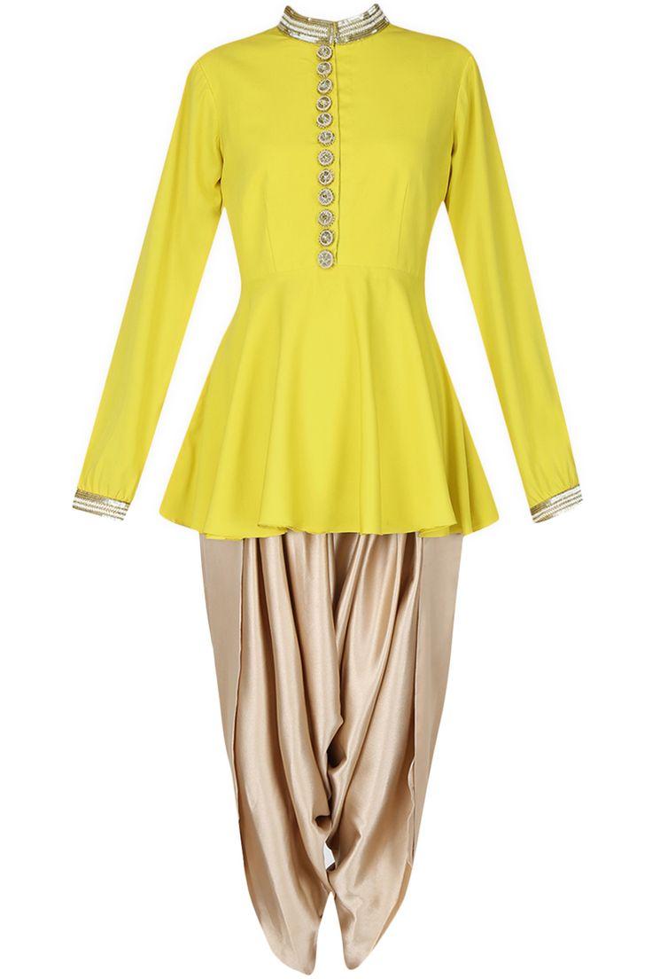 Ridhi Arora presents Lemon yellow sequins embellished peplum top and dark beige…