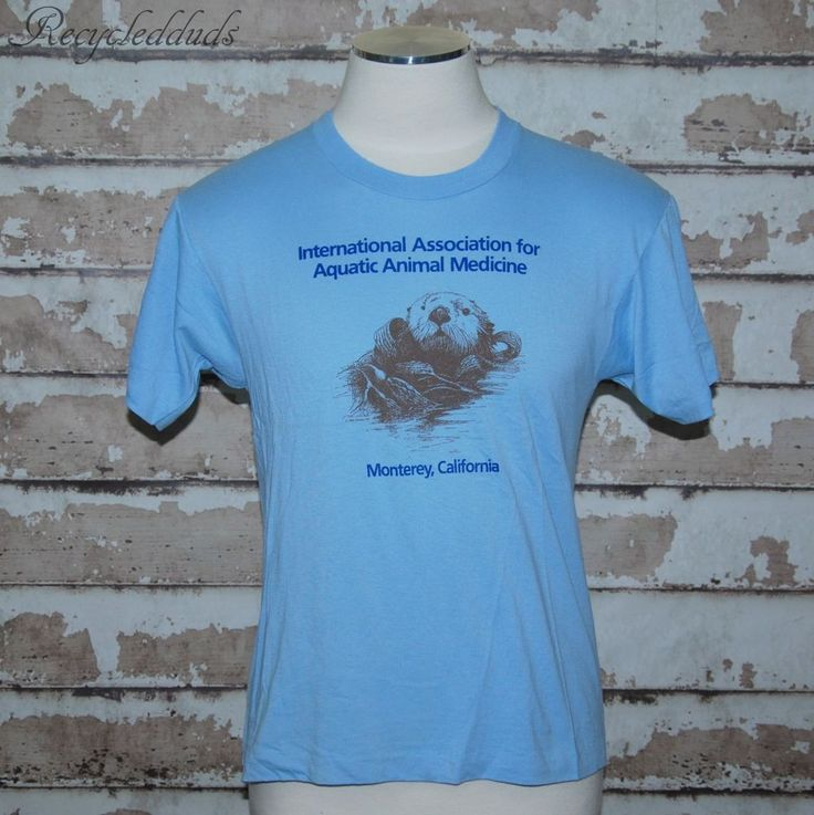 Vintage Aquatic Animal Medicine Monterey California T Shirt Large L Otter IAAAM #ScreenStars #GraphicTee