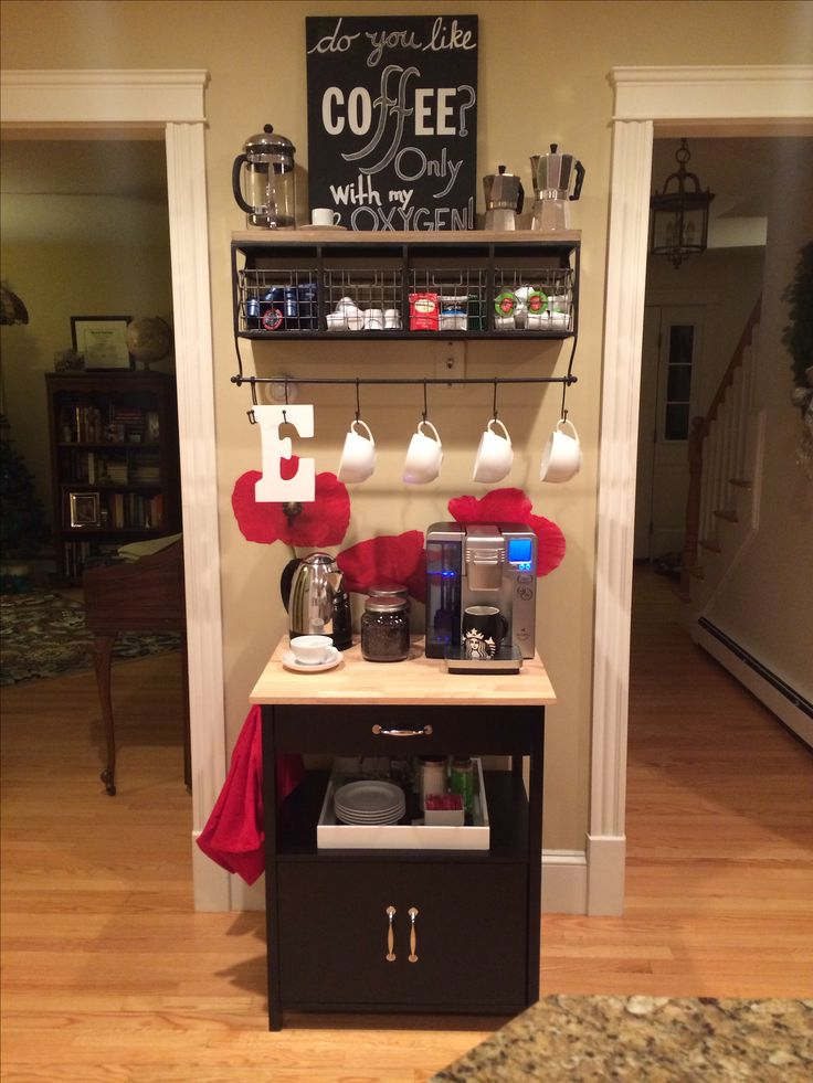 Coffee and Tea Bar... just to clarify, I do NOT like the style of it, just the great utilization of a small space