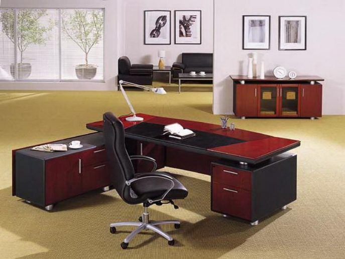 office tableoffice table with side table design ideas best furniture red and black executive - Ideas For Office Desk