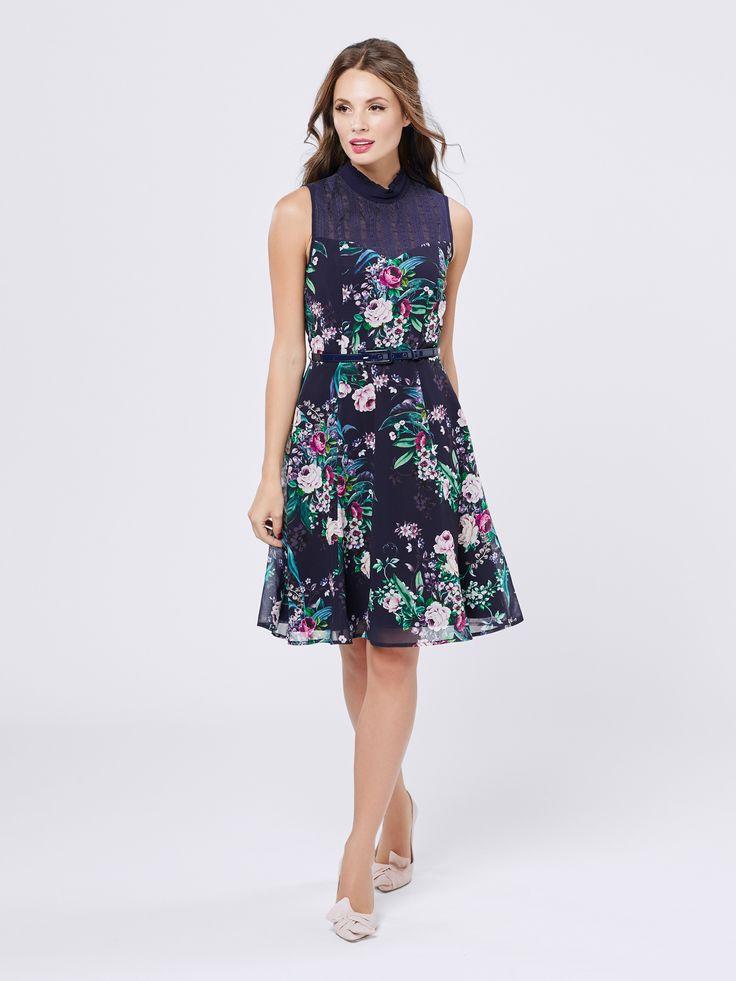 Floral Armour Dress | Navy & Multi | Dresses