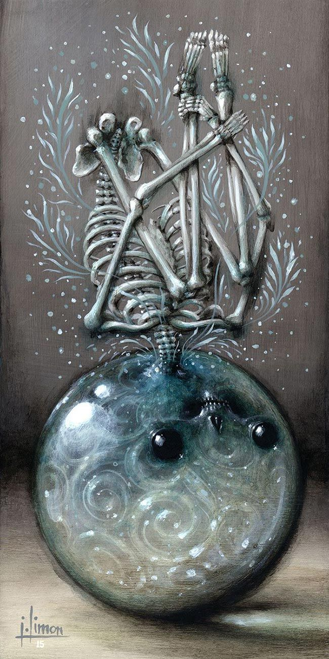 'Orb Evolution' by @jasonlimon. Find out more about Jason and see more of his wonderful art at wowxwow.com (narrative, creatures, character design, mystery, skull, skeleton, surreal, pop surrealism)