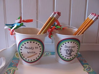 "My ""sharpened pencils"" and ""dull pencils"" buckets look a lot less cute than these! I find that having these buckets is a huge classroom management piece. No more, ""but, I don't have a sharpened pencil!"" :)"