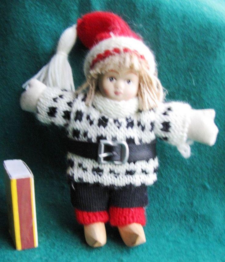 Vintage Wood Porcelain Swedish People Figure Girl Doll Sweden very rare №2