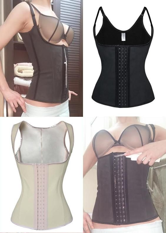 This is the latest model of our best selling waist training corset. It's made from a high quality polyester spandex blend and includes four flexible spiral ste