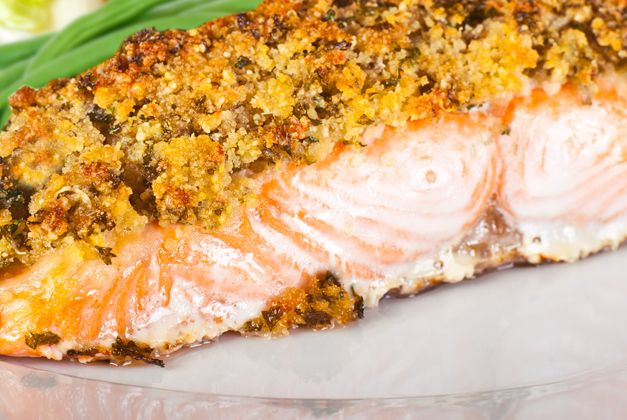 Parmesan and Almond Crusted Salmon - Approx. 400 Calories #u_weight_loss