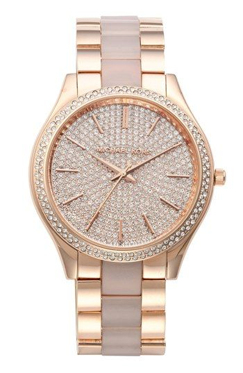 Michael Kors 'Slim Runway' Pavé Dial Plastic Link Bracelet Watch, 42mm available at #Nordstrom